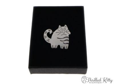 Cute Stripey Cat Brooch | Sterling Silver