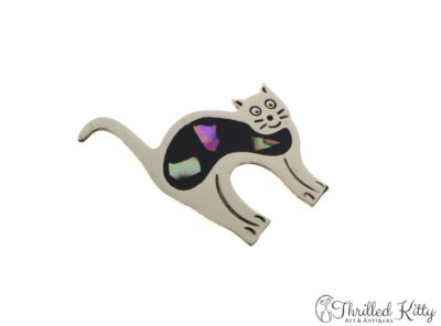 Mexican Alpaca Cat Brooch | Abalone and Enamel Inlay