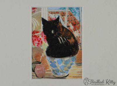 'Old Cat in Bowl & Geraniums' by Carol Biss | ACEO