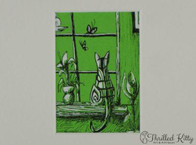 'Striped Cat on Windowsill' by Eleyse Gottman | ACEO