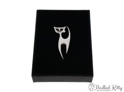 Stylised Cat Hat or Lapel Pin | Sterling Silver