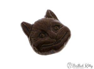 Unusual Vintage Glazed Stoneware Cheshire Cat Brooch | 1970s