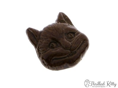 Unusual Vintage Glazed Stoneware Cheshire Cat Brooch | 1970s