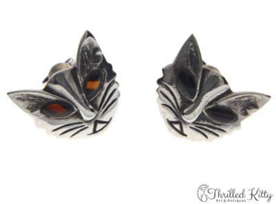 Vintage Scandinavian Modernist Cat Earrings | Solid Silver & Agate